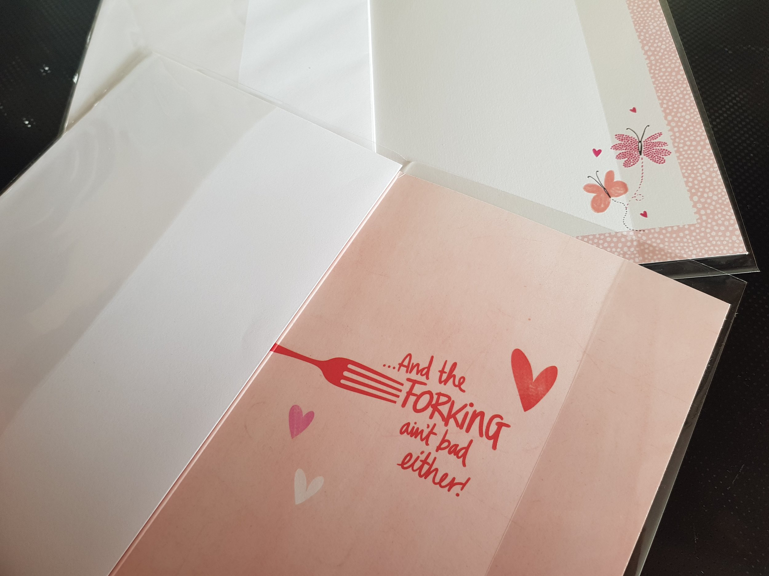 The inside of some of Hallmark's Valentine's Day cards