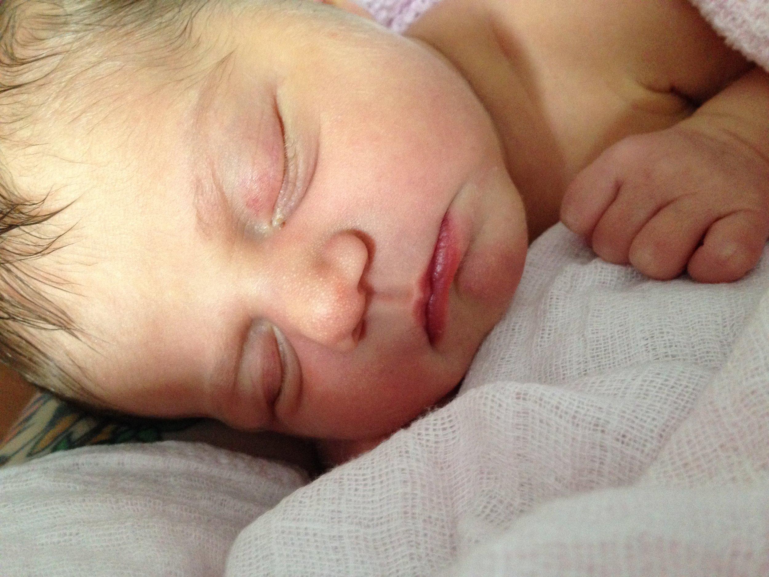 Newborn baby cuddles