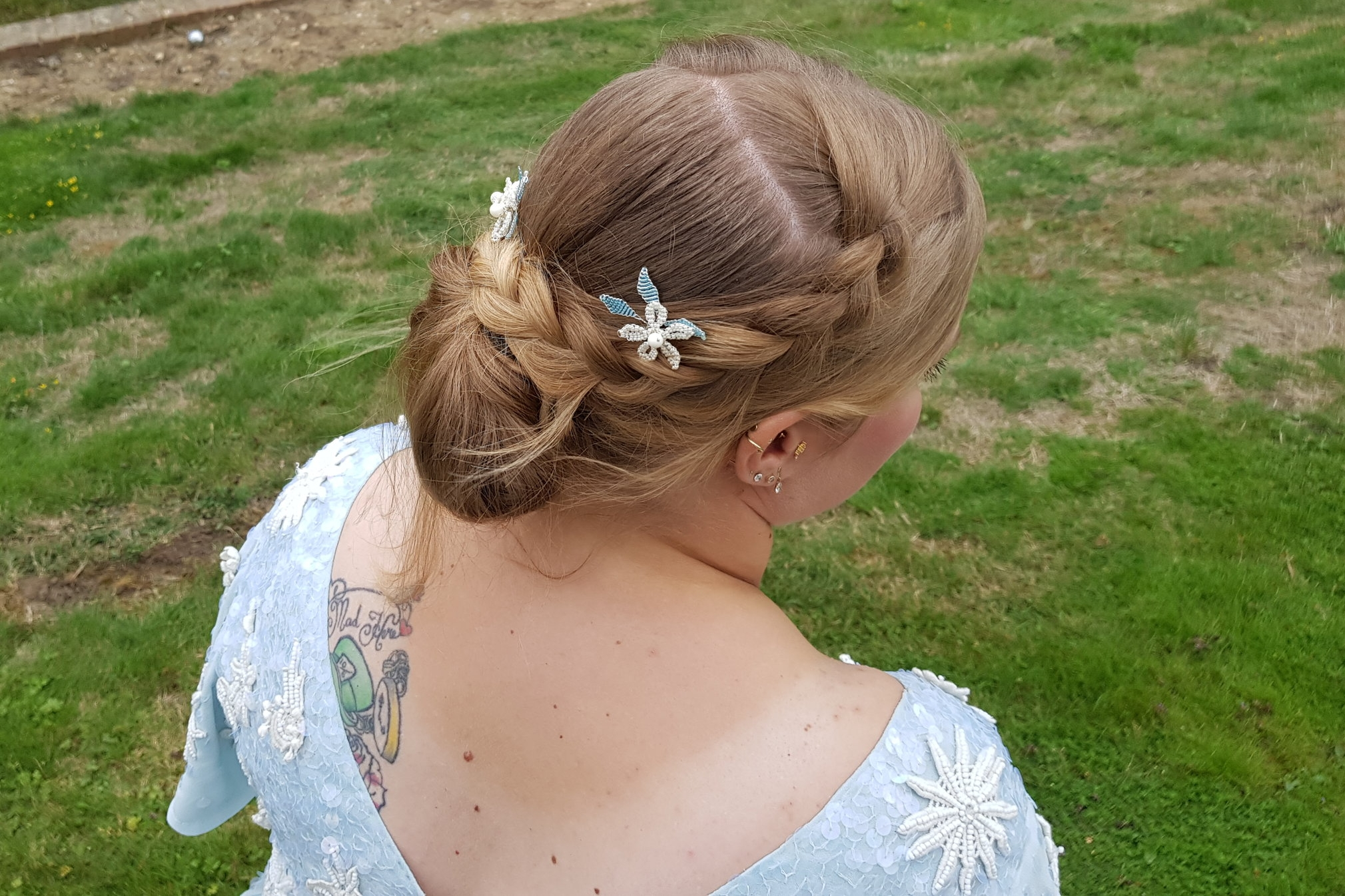 Wedding updo and Tanglefrost hair pins to match my SENCHAEmbellished Midi Dress