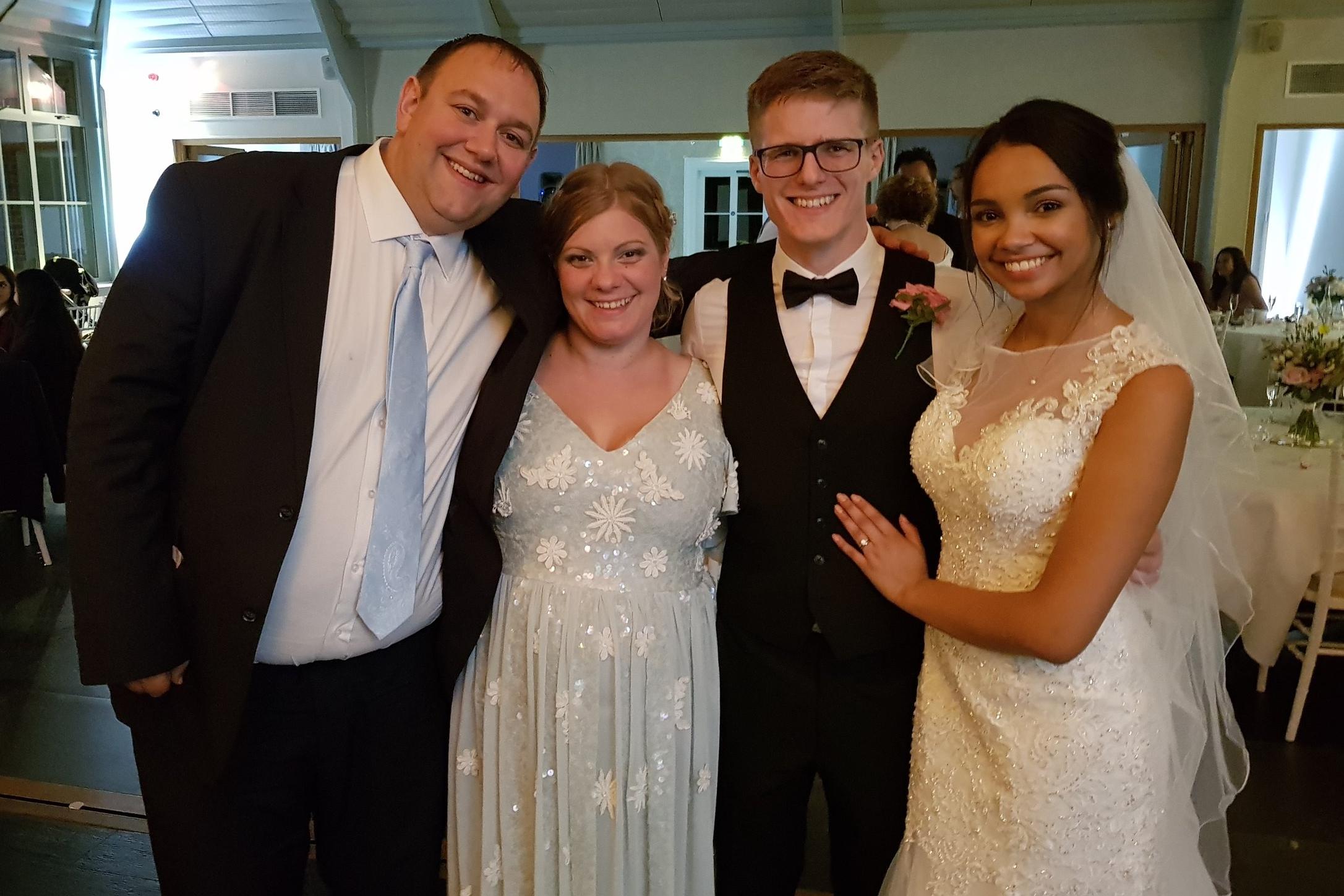Samuel & Megan's wedding day, wearing ELVI's SENCHAEmbellished Midi Dress