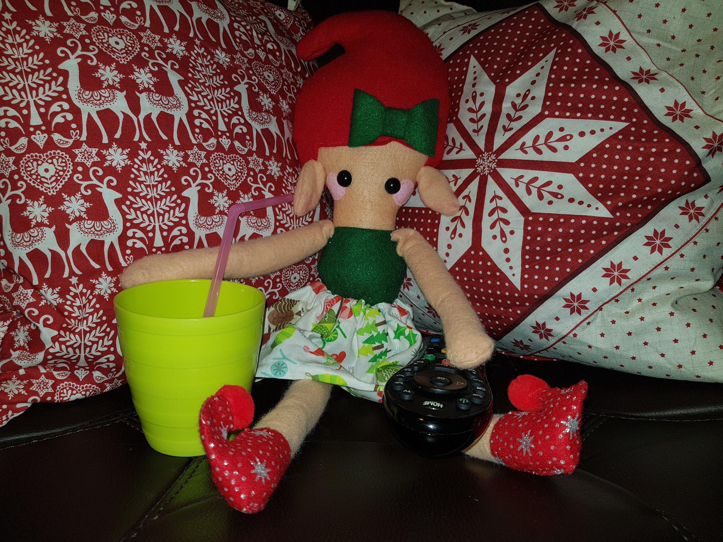Elf on a Shelf December 5th Watching TV