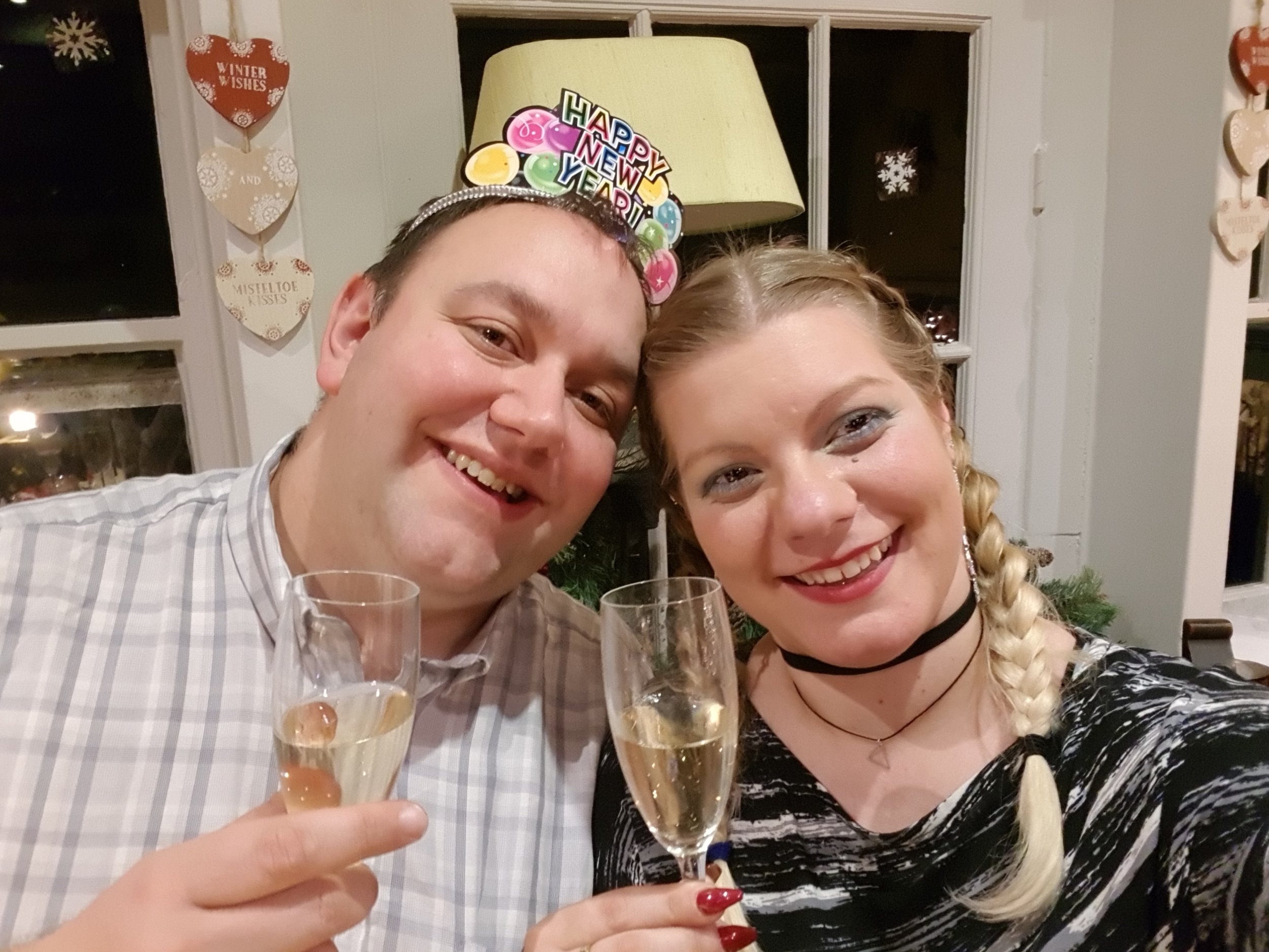 New Years Eve husband and wife and champagne