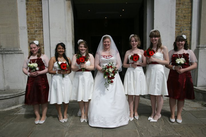 My wedding day bridal party here come the girls