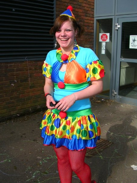 Dressed up as a clown for muck up day at Beaconsfield High School for Girls