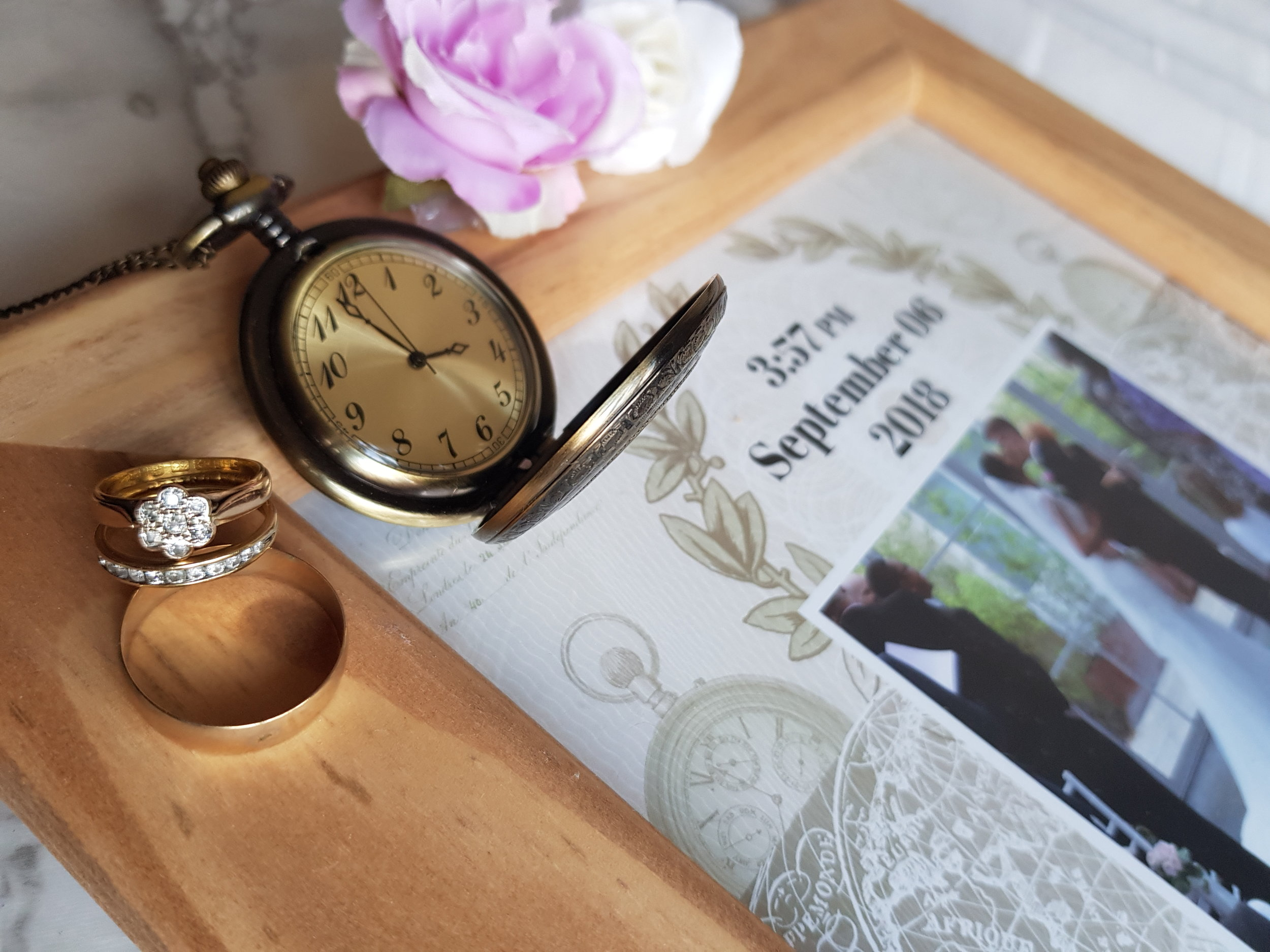 Own a moment frame and pocket watch