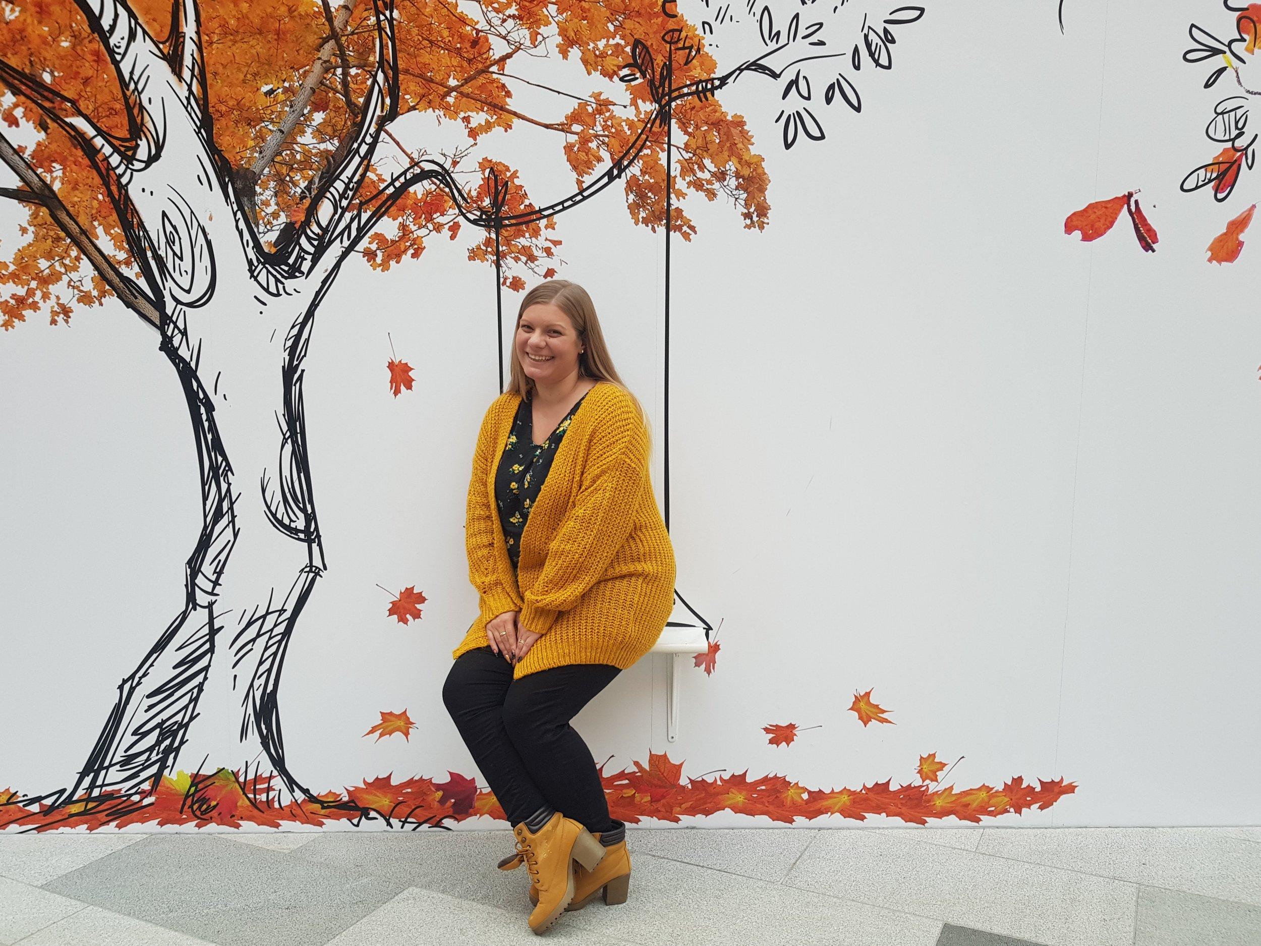 Posing by the mural walls in Intu Watford