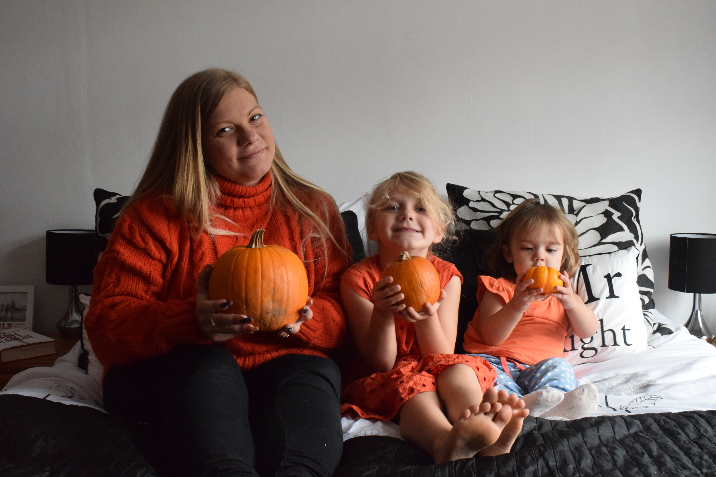 Three pumpkins in a row
