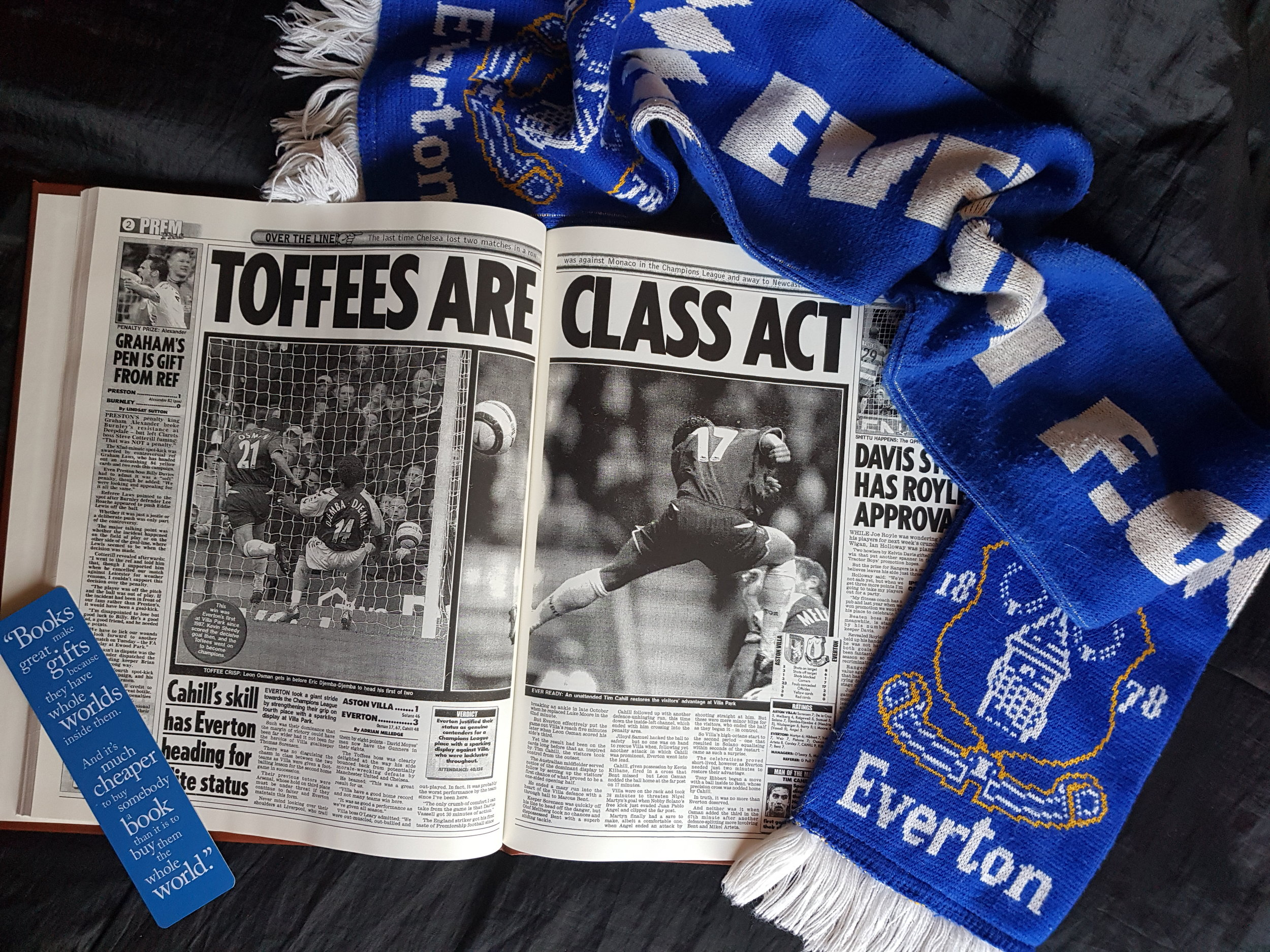 Blossoming Gifts Everton football newspaper book