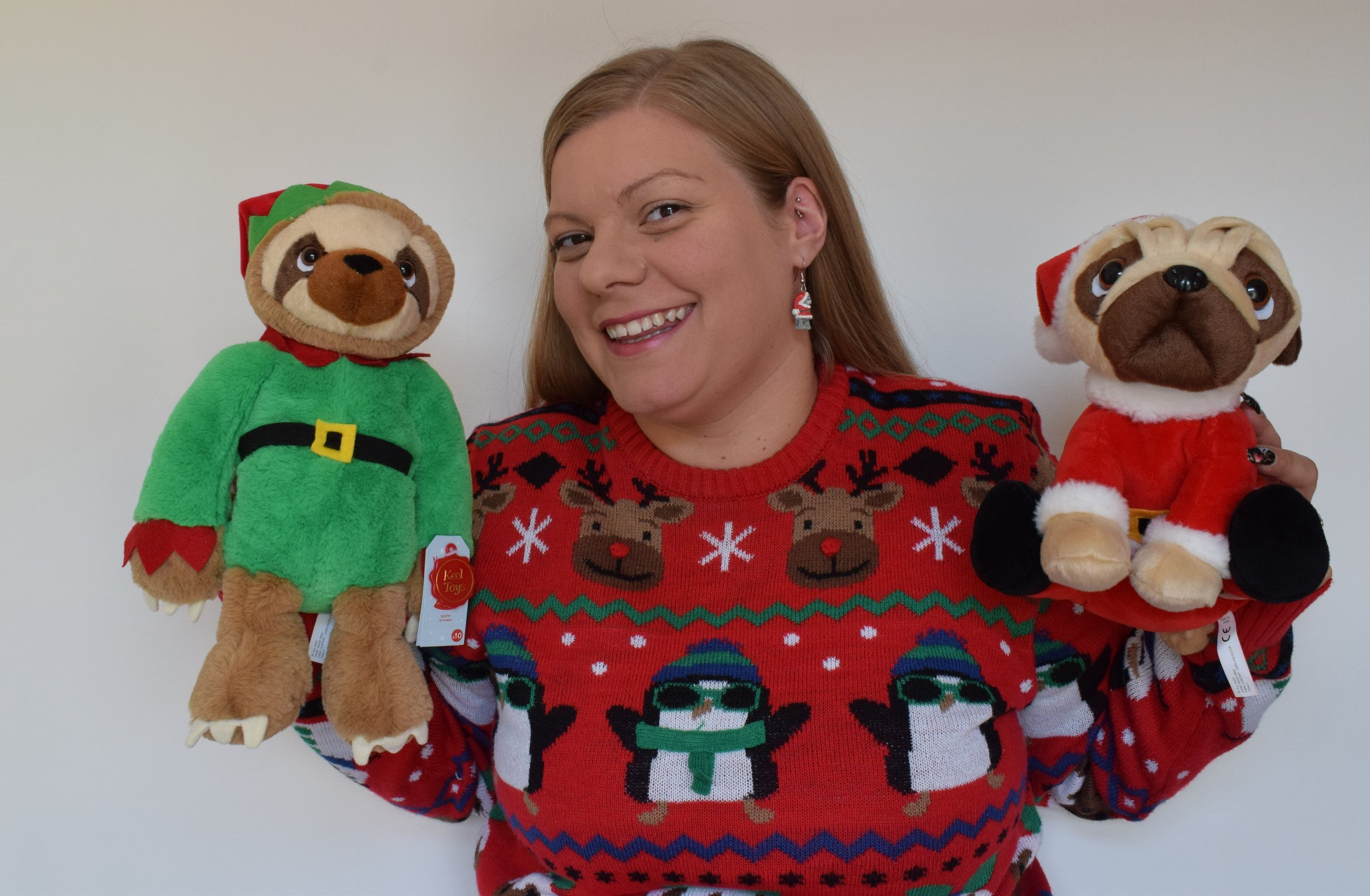 Christmas soft toy Keel toys elf sloth and Pugsley Santa from Clintons