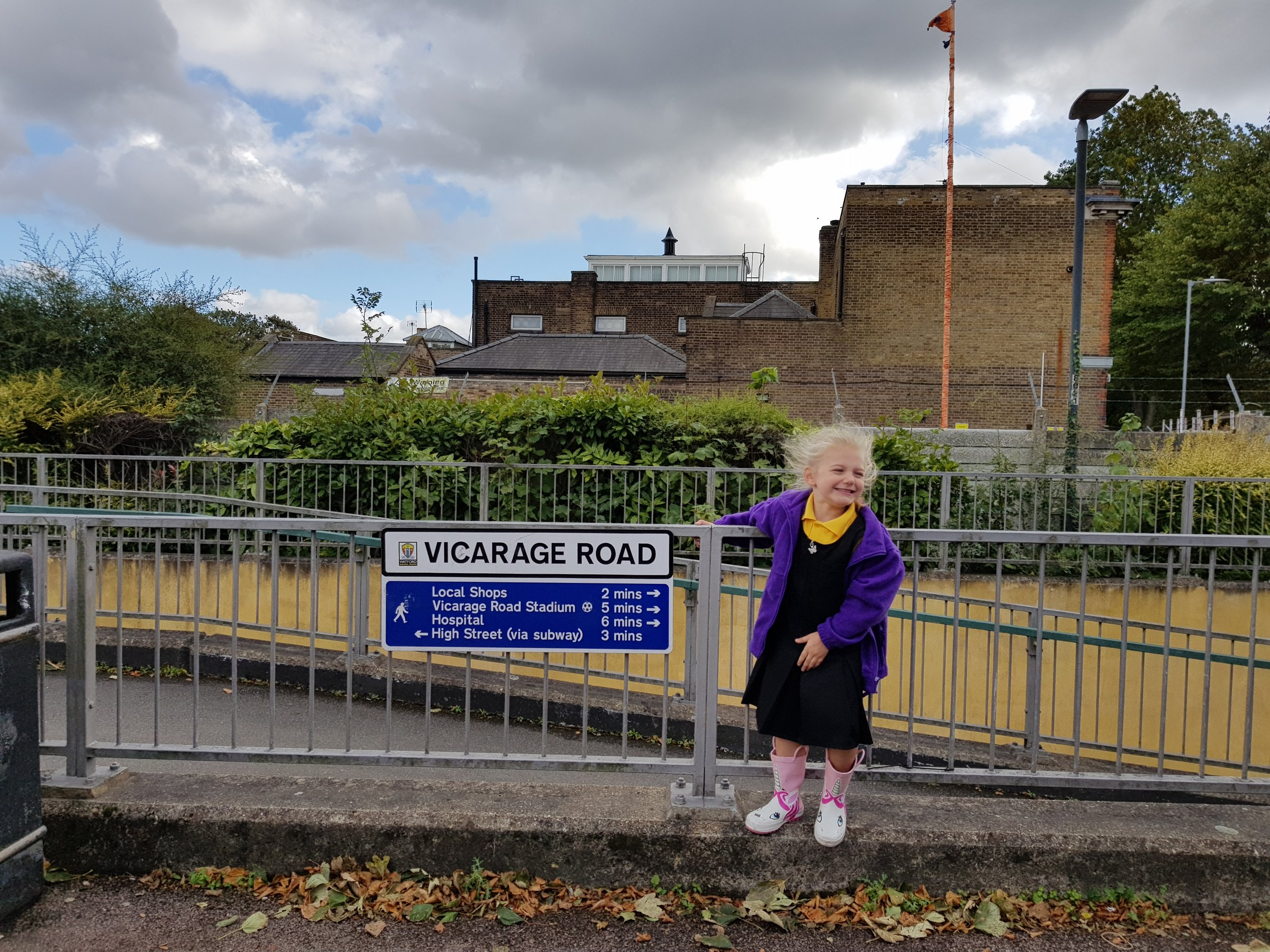 Squidgy in her uniform on Vicarage Road