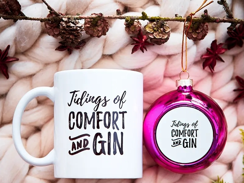 Prezzybox Tidings of Comfort and Gin bauble and mug gift set
