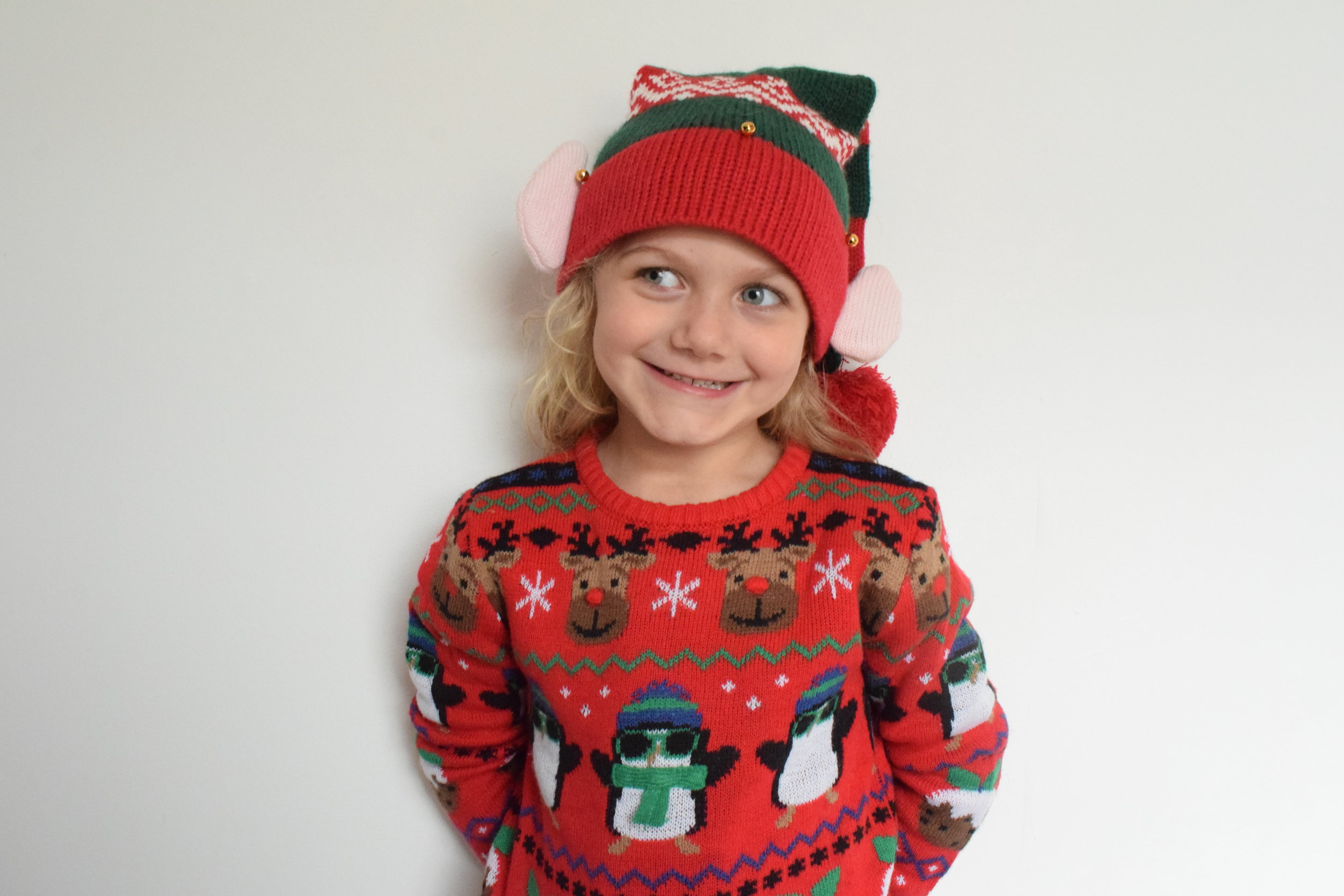 Squidgy dressed up in her favourite Christmas jumper and elf hat