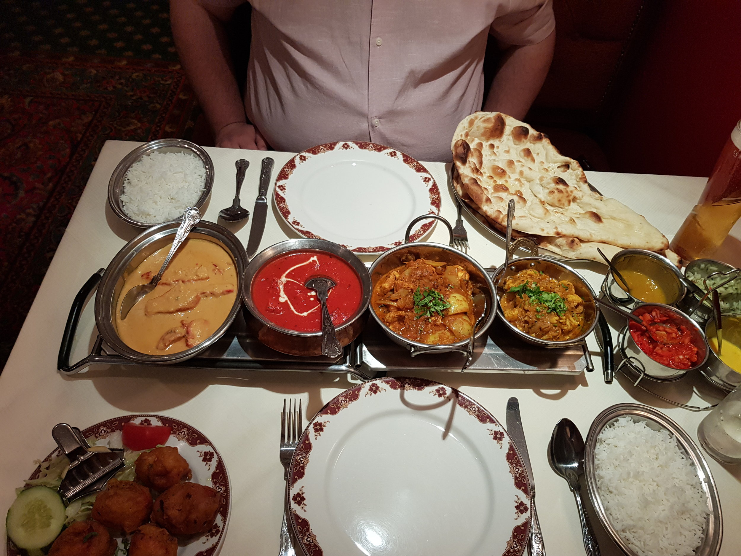 Indian restaurant food anniversary meal