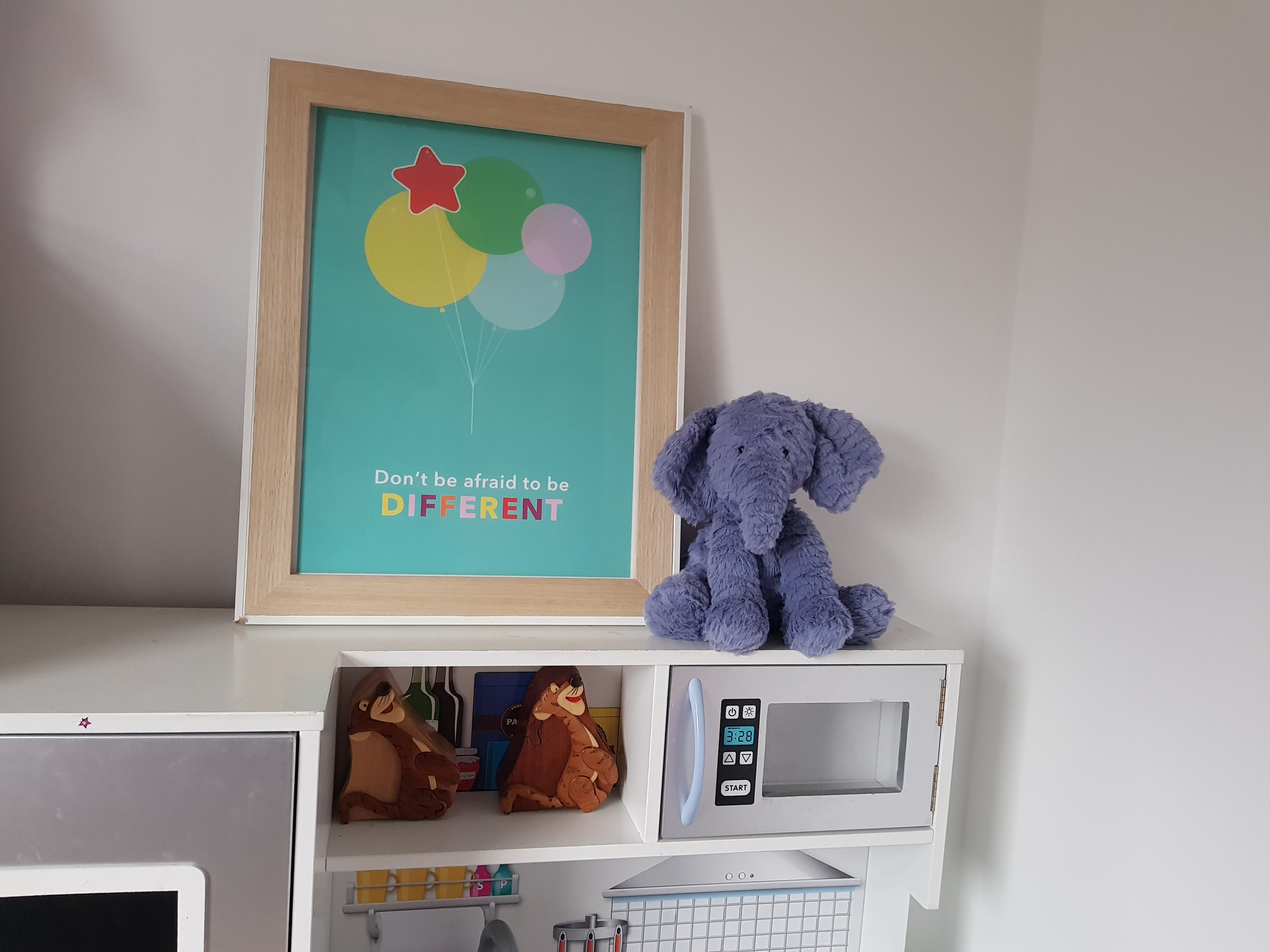 "Edu Prints Plus children's wall print ""Don't be afraid to be different"" quote"