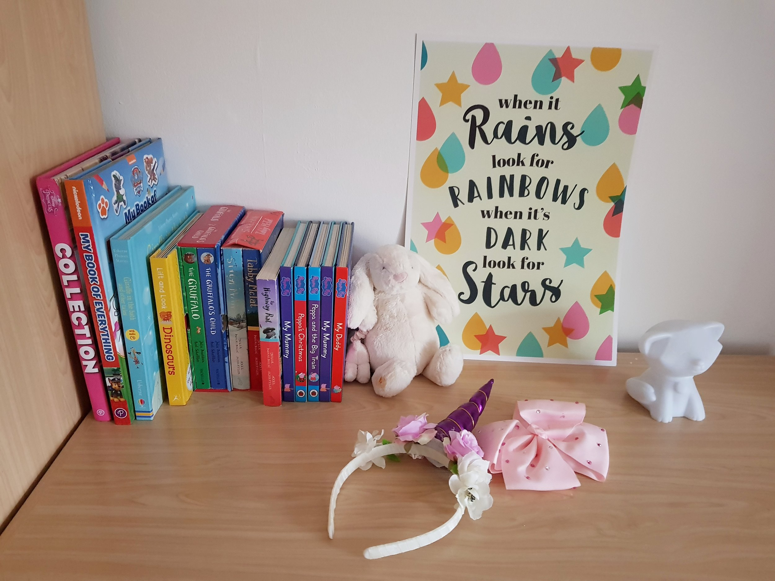 "Edu Prints Plus children's wall prints ""When it rains look for rainbows, when it's dark look for stars"""