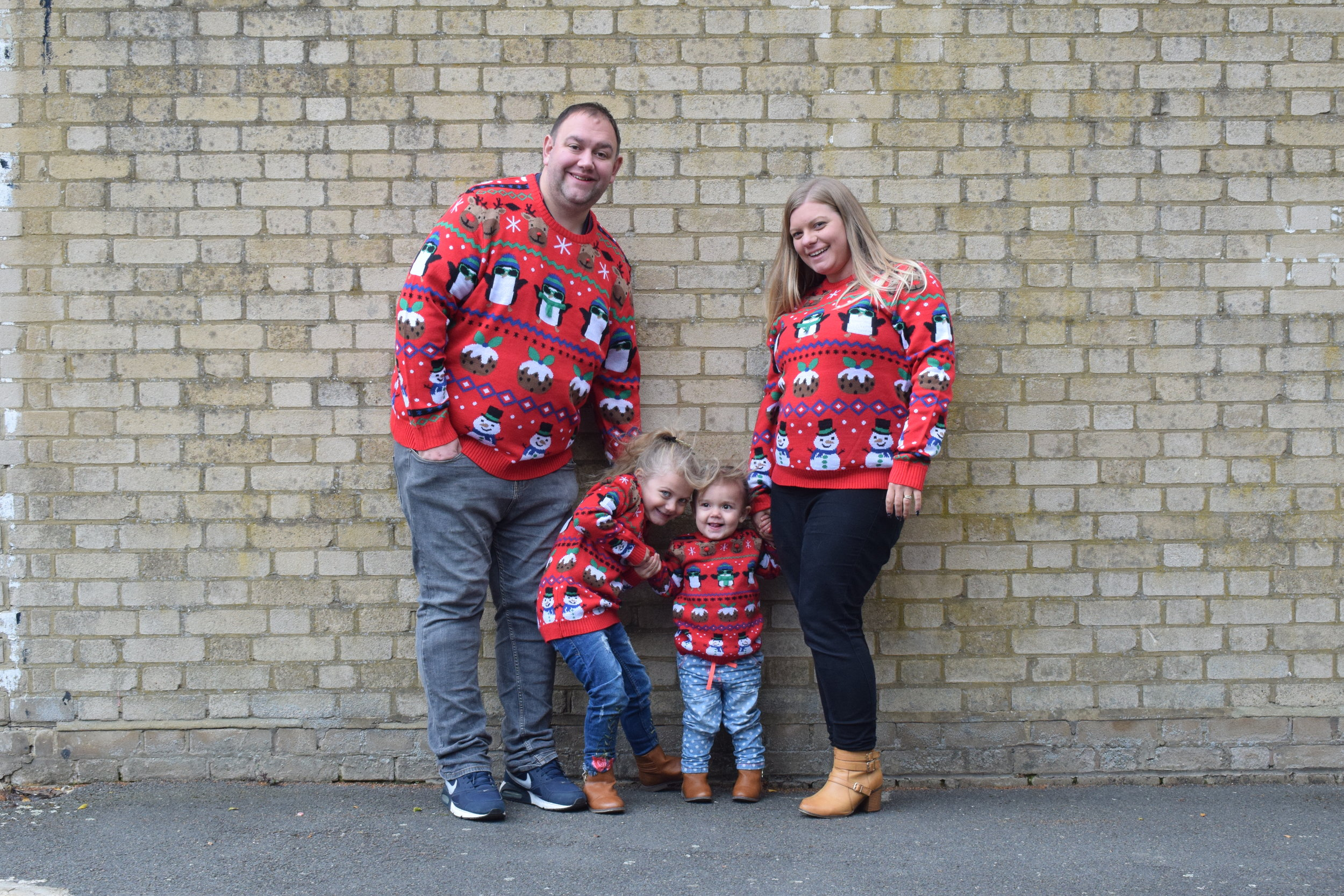 My family in matching Christmas jumpers