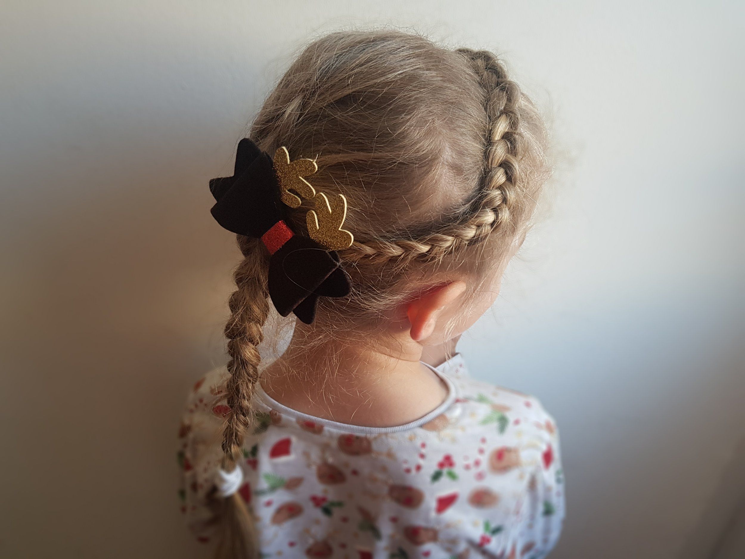 Fancy hairstyles and Christmas bow from Primark