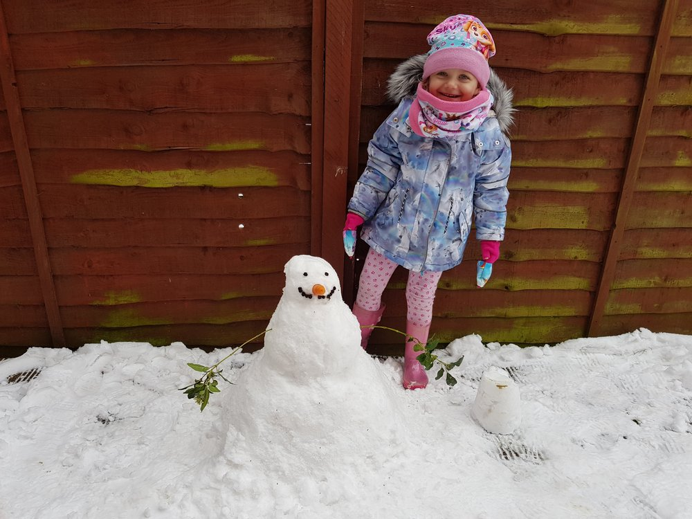 Snowman building in the UK