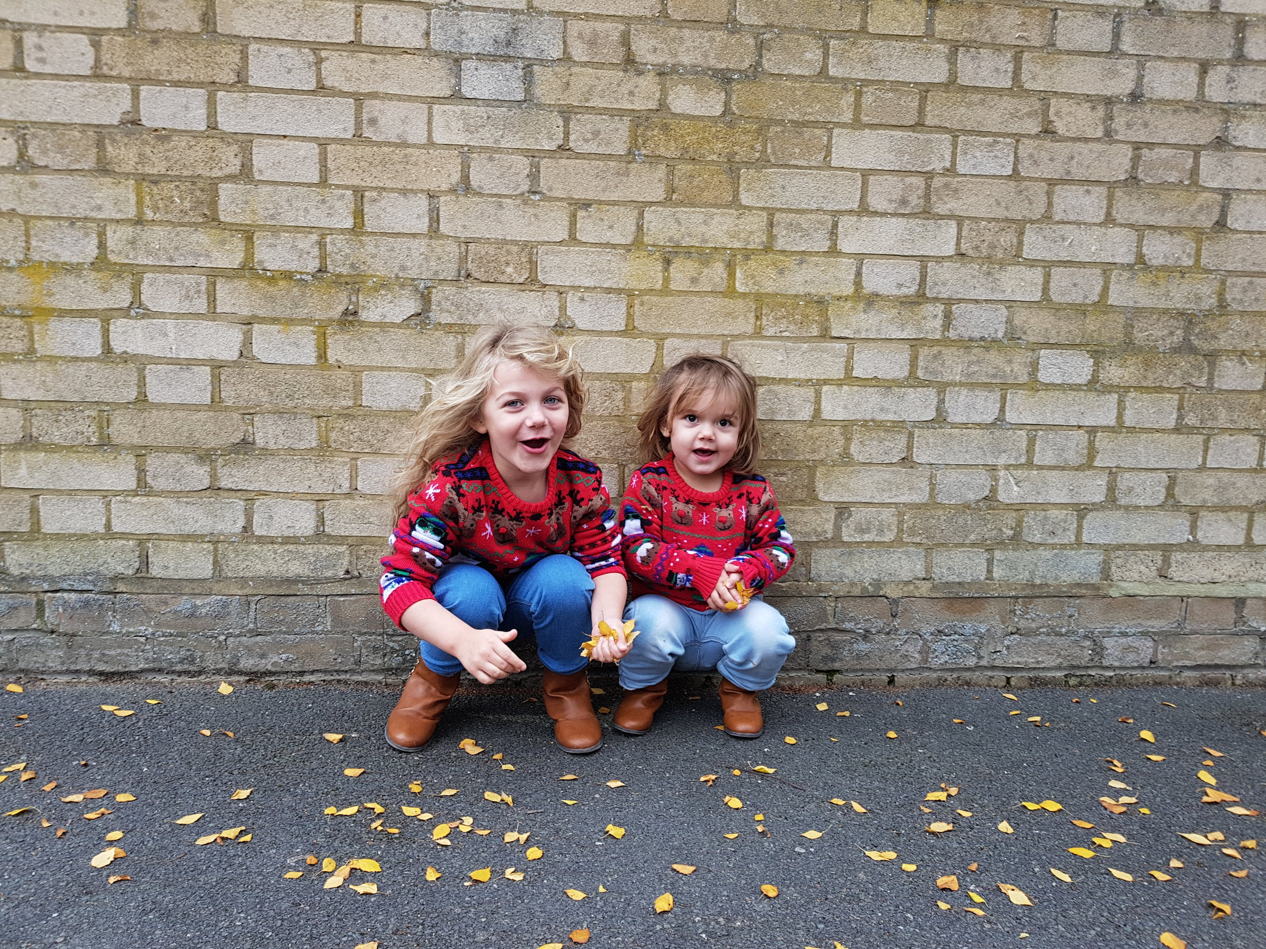 My girls in Christmas jumpers