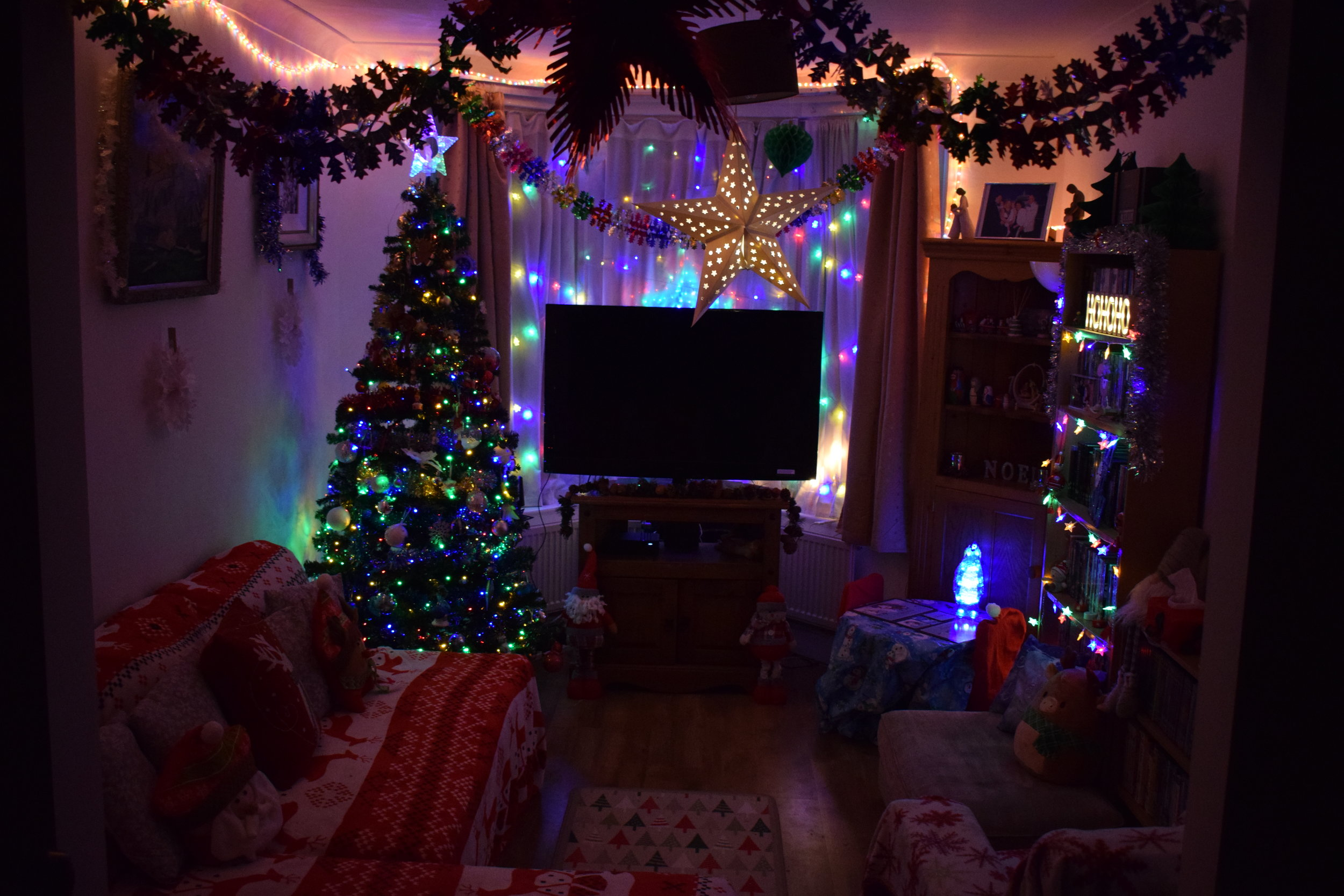 Our living room decorated for Christmas