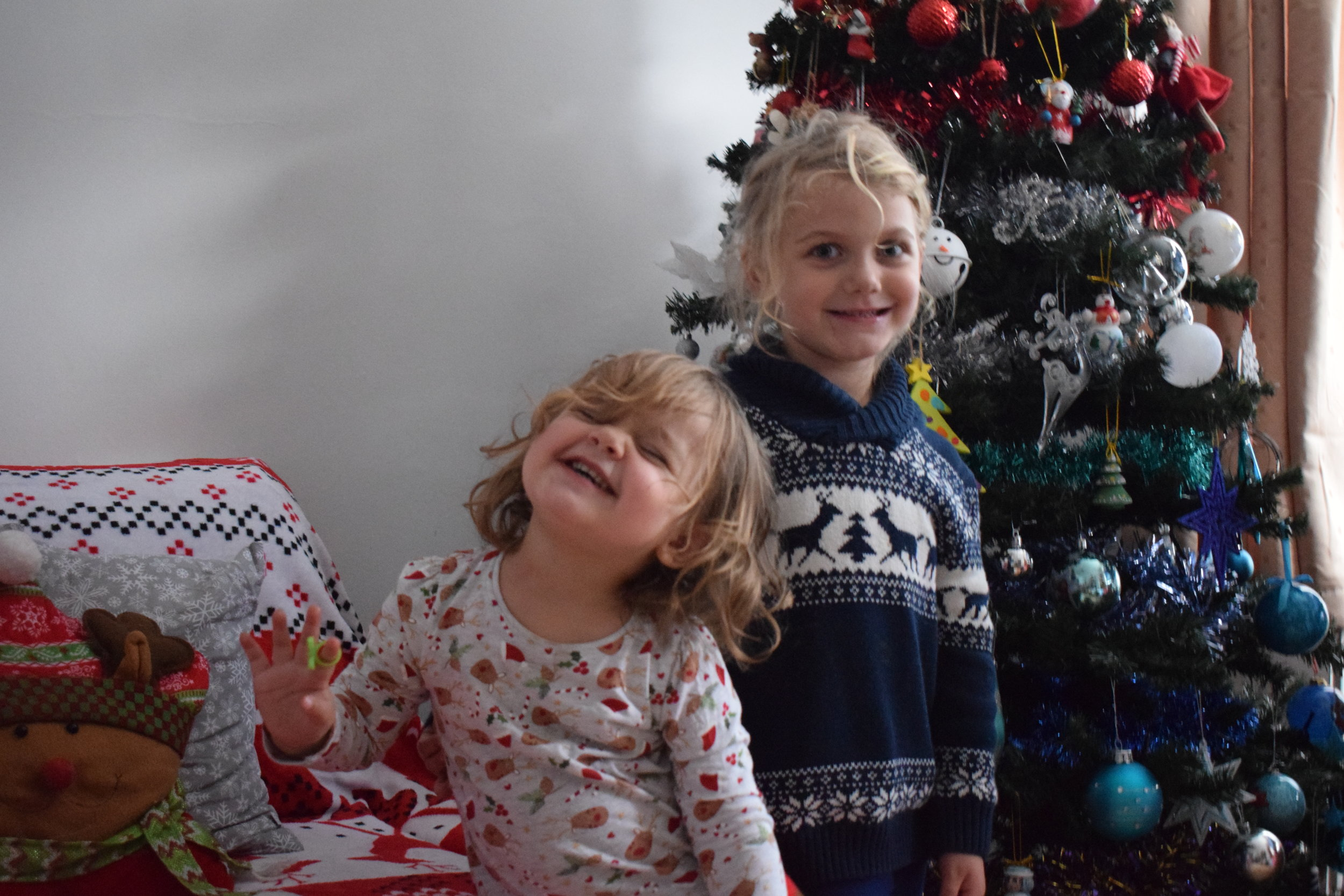 My happy girls in our Christmas living room