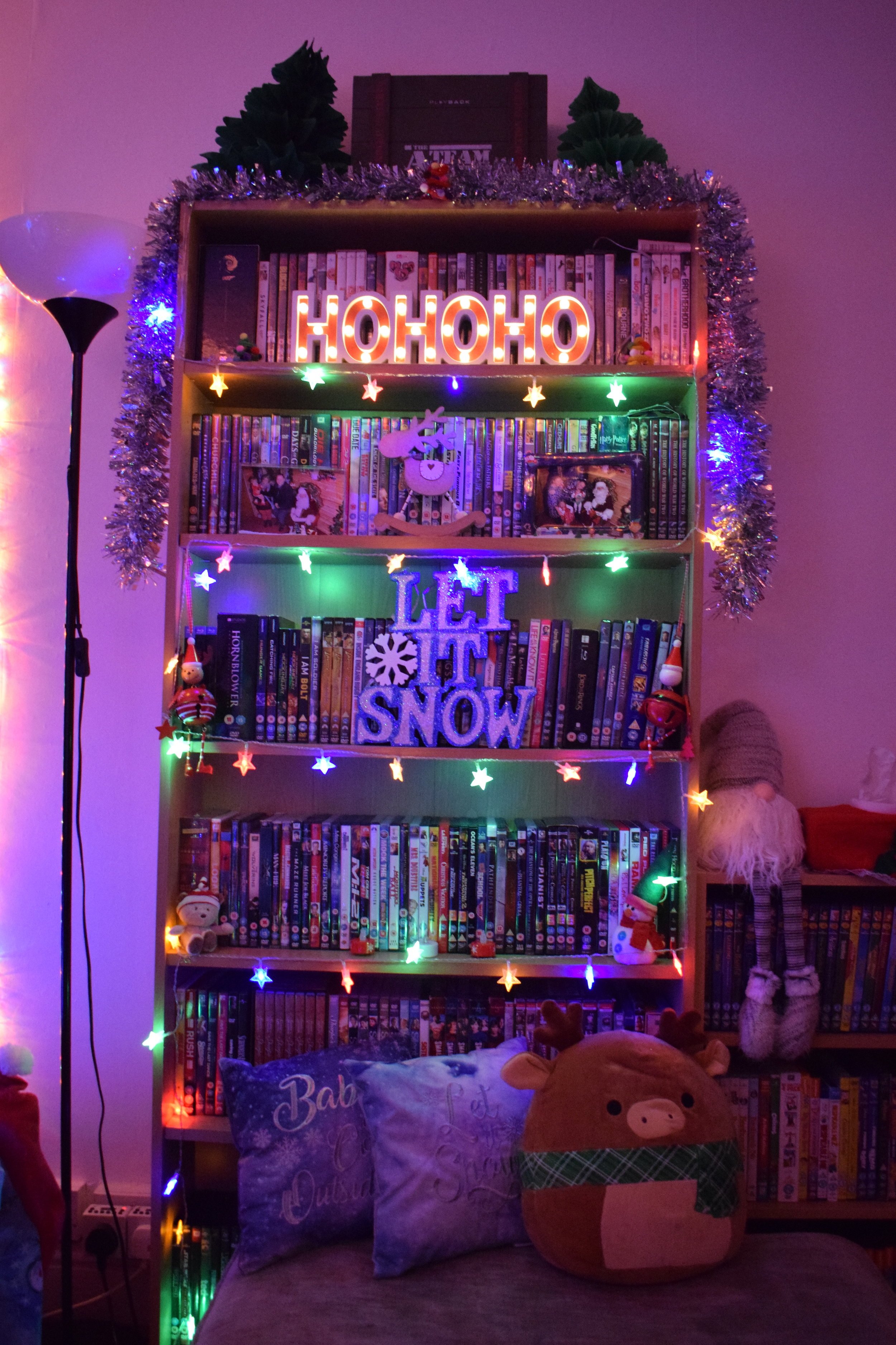 Christmas decorations on my bookshelf