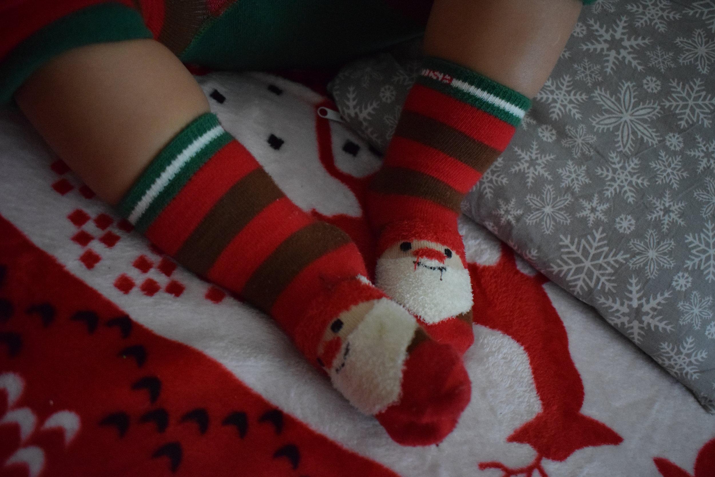 Blade and Rose Santa socks