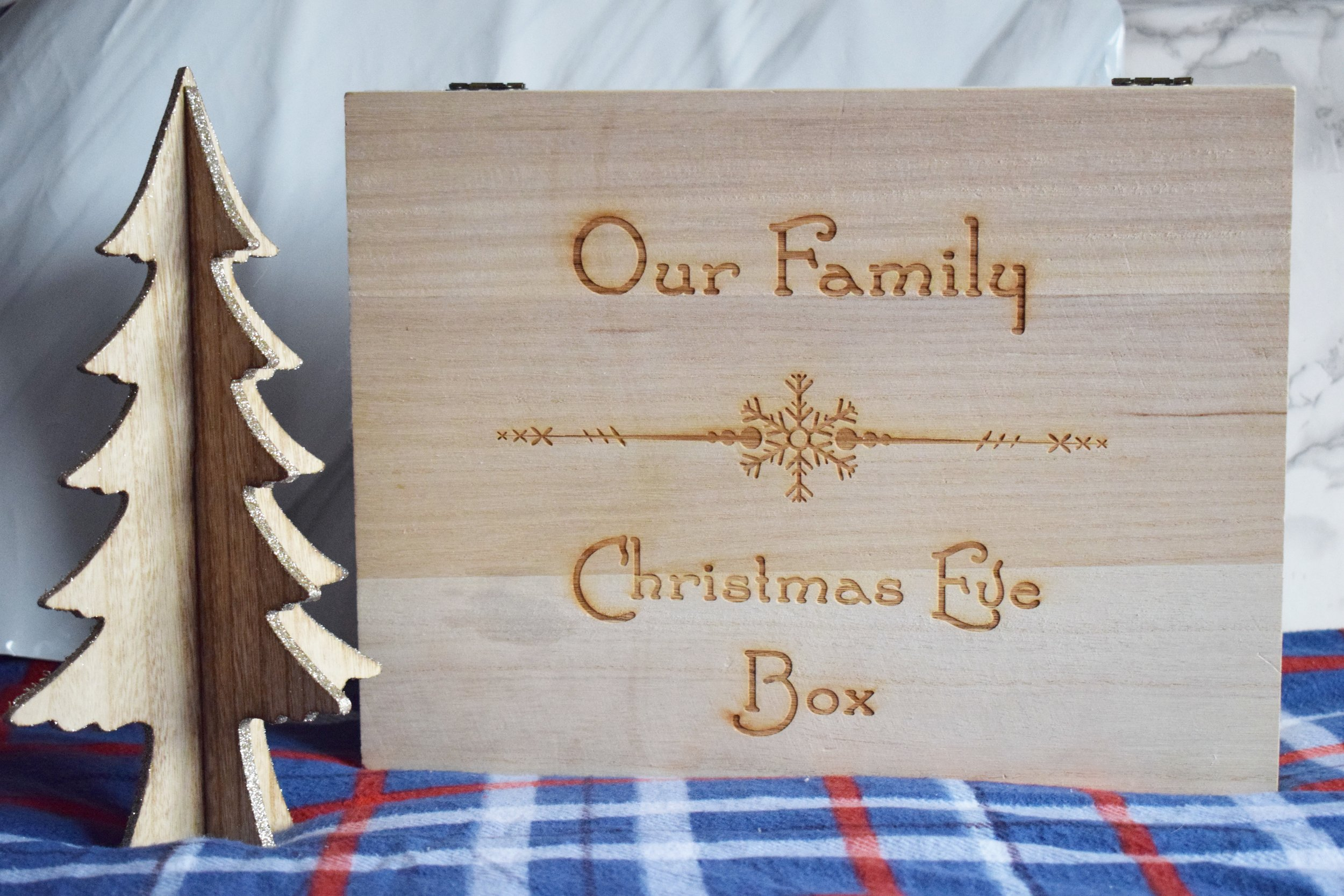 Our family personalised engraved wooden Christmas Eve box