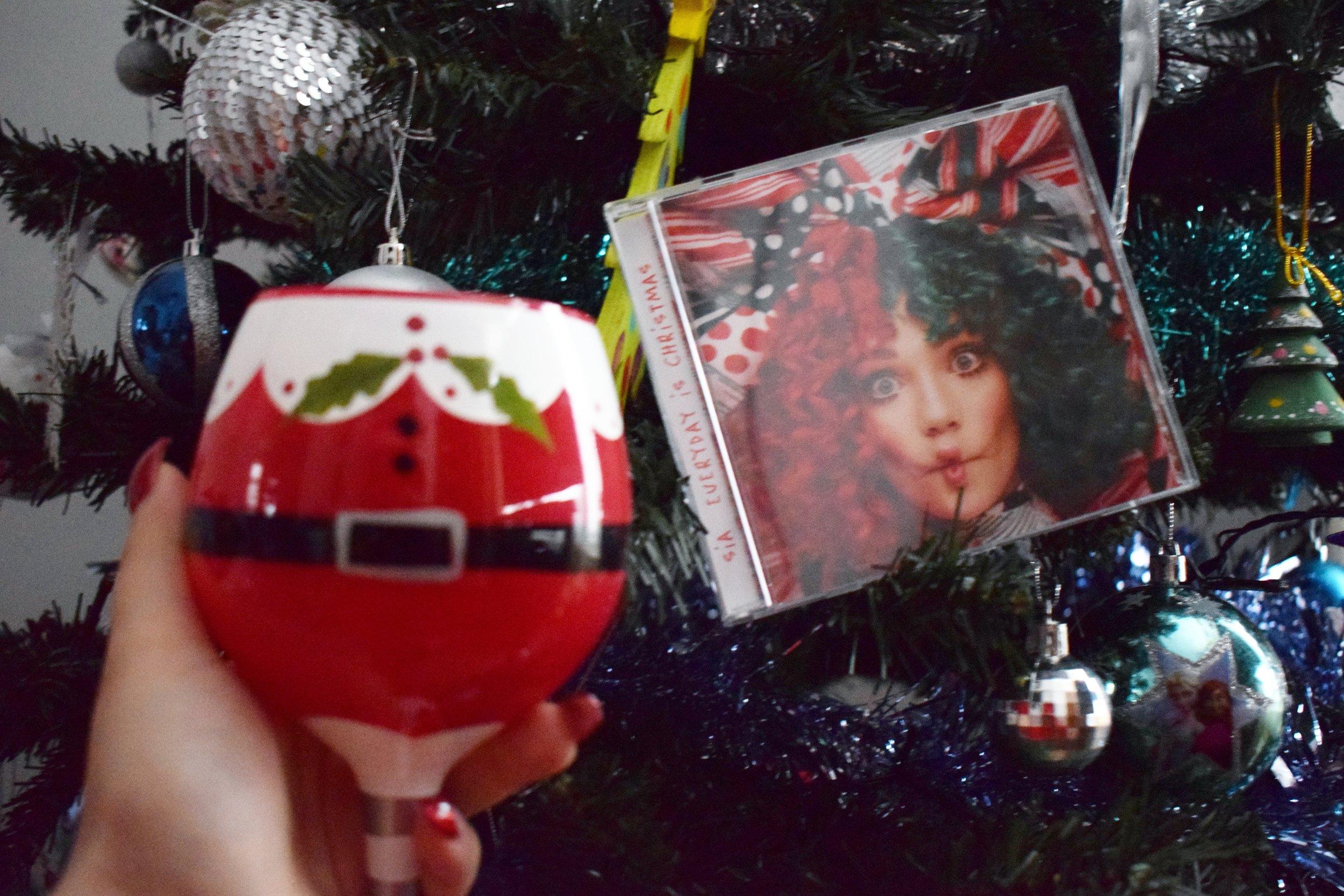 Christmas glass and Sia Everyday is Christmas CD