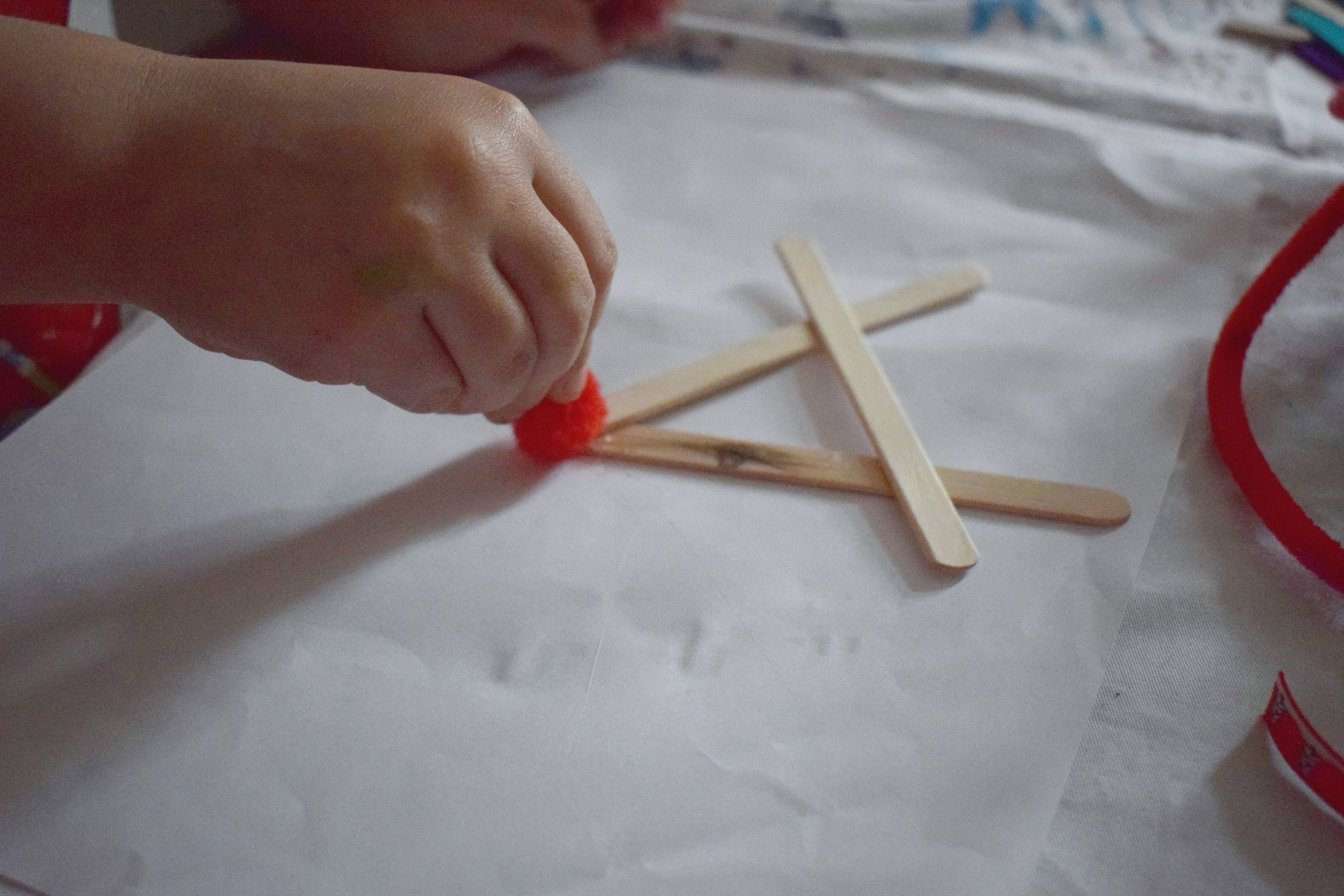 Making a popsickle lollipop stick reindeer handmade Christmas decoration
