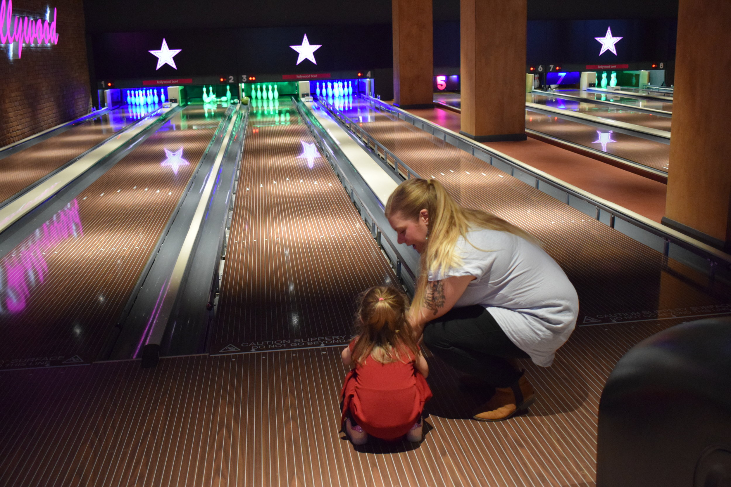 Teaching Pickle to bowl at Hollywood Bowl, Intu Watford