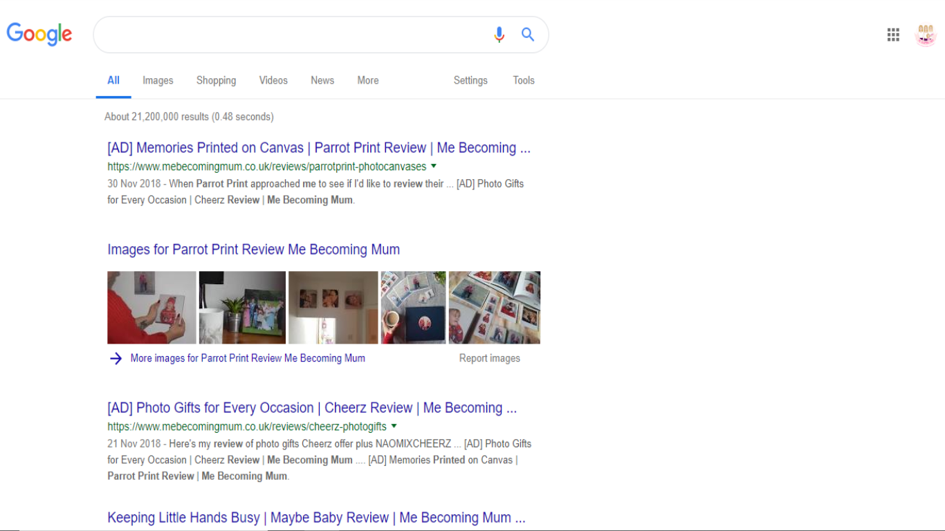 Google results showing AD in blog title