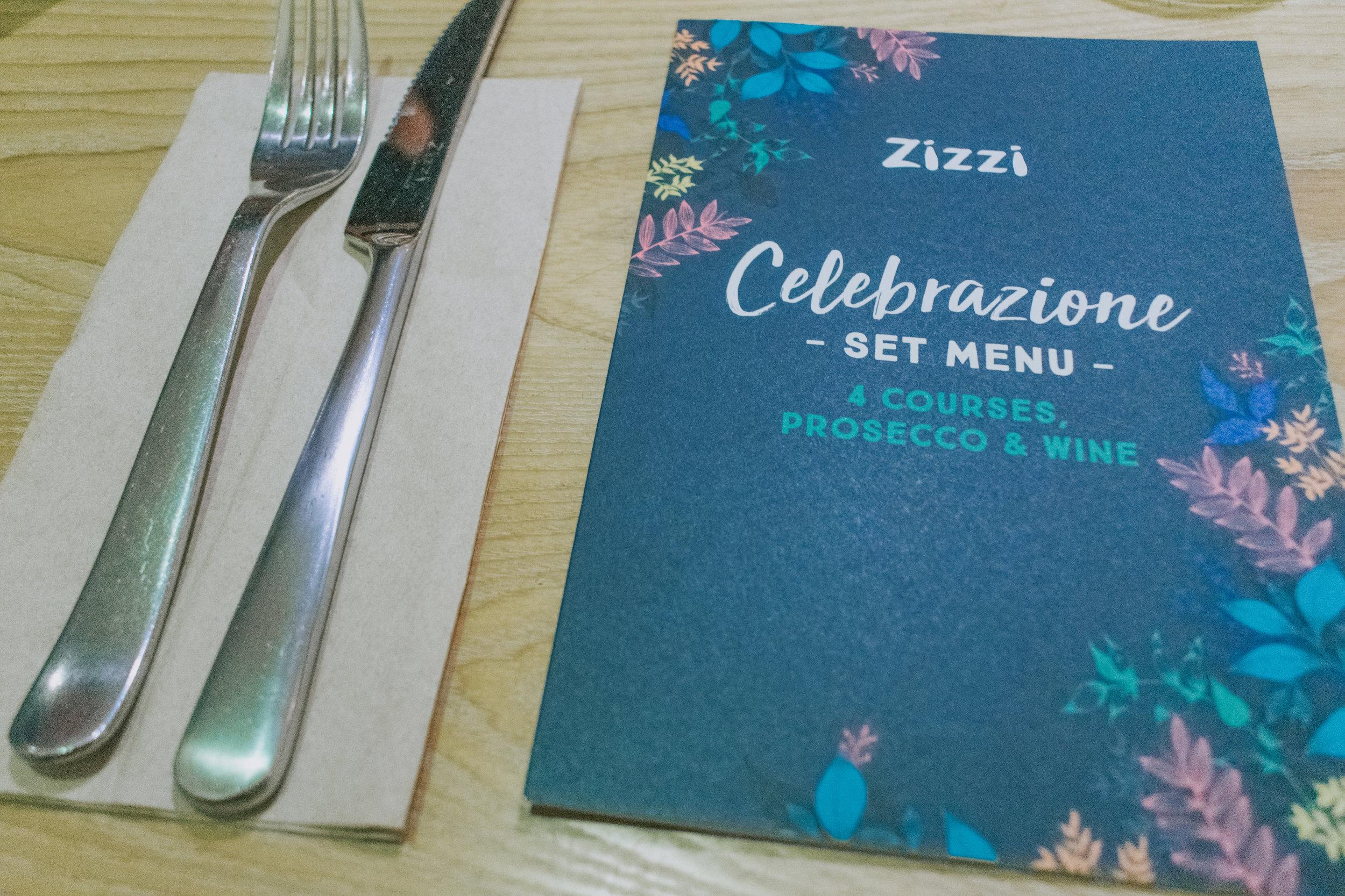 Zizzi Celebrazione set menu 4 courses, prosecco & wine