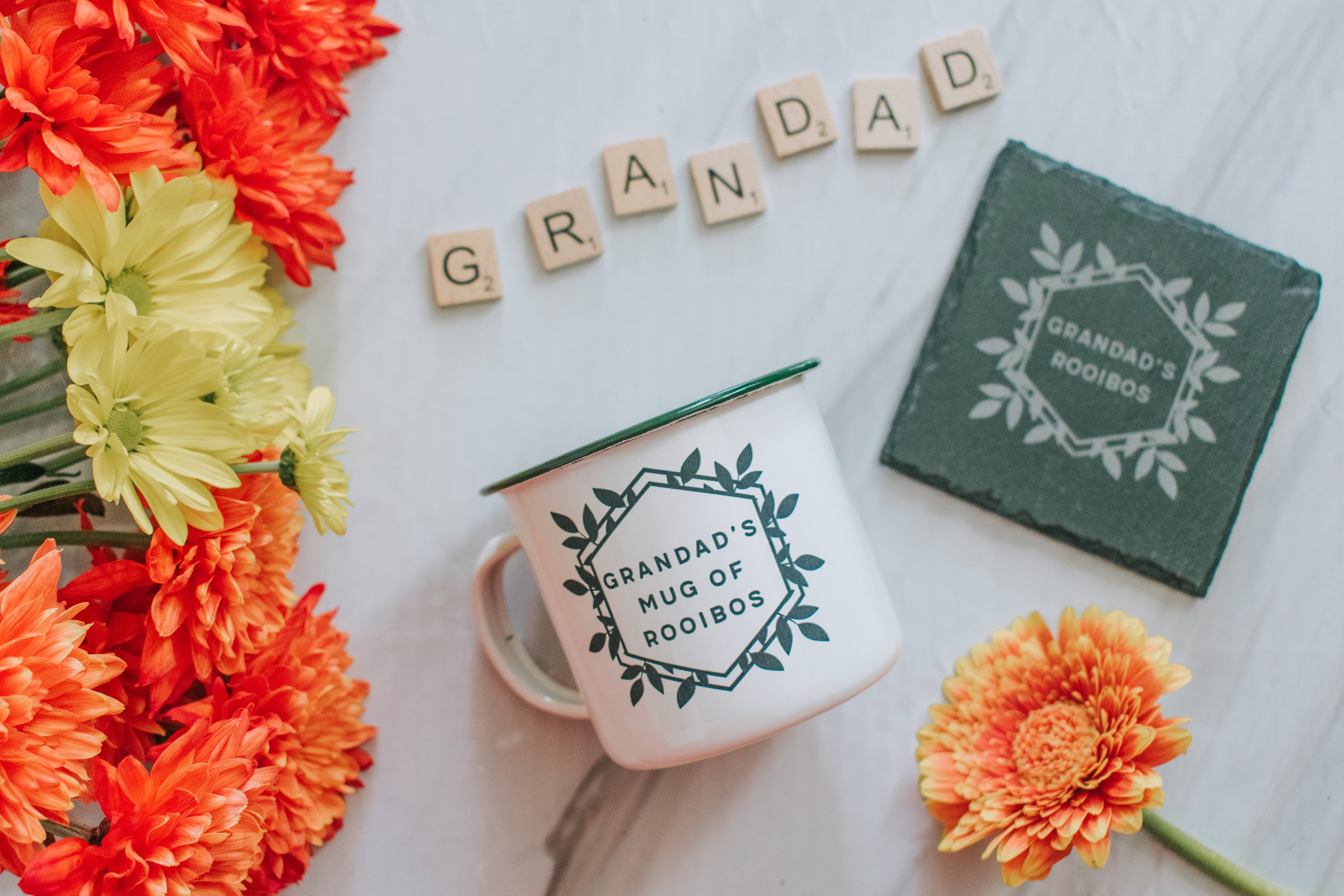 Norma & Dorothy personalised mug and coaster Father's Day gifts 2019