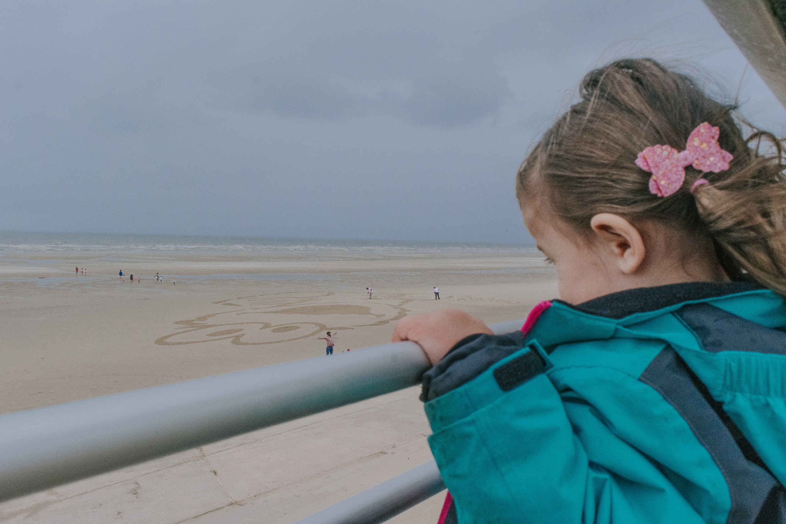 Cookie Monster sand drawing on Blackpool beach