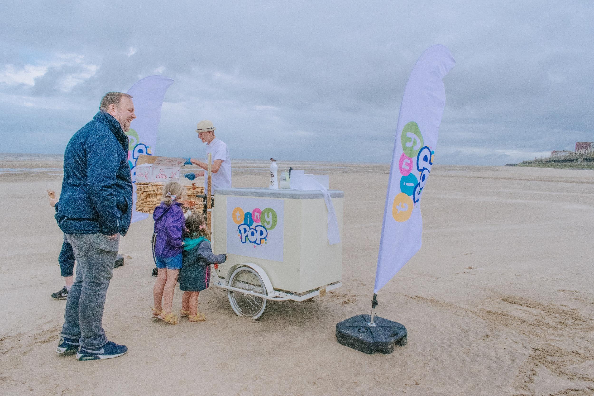 Dan and Wills Ice Cream bike on Blackpool beach
