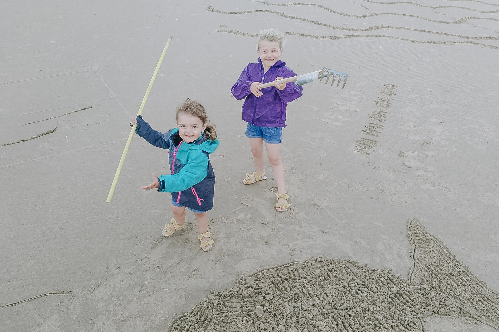 Sand drawing on Blackpool beach