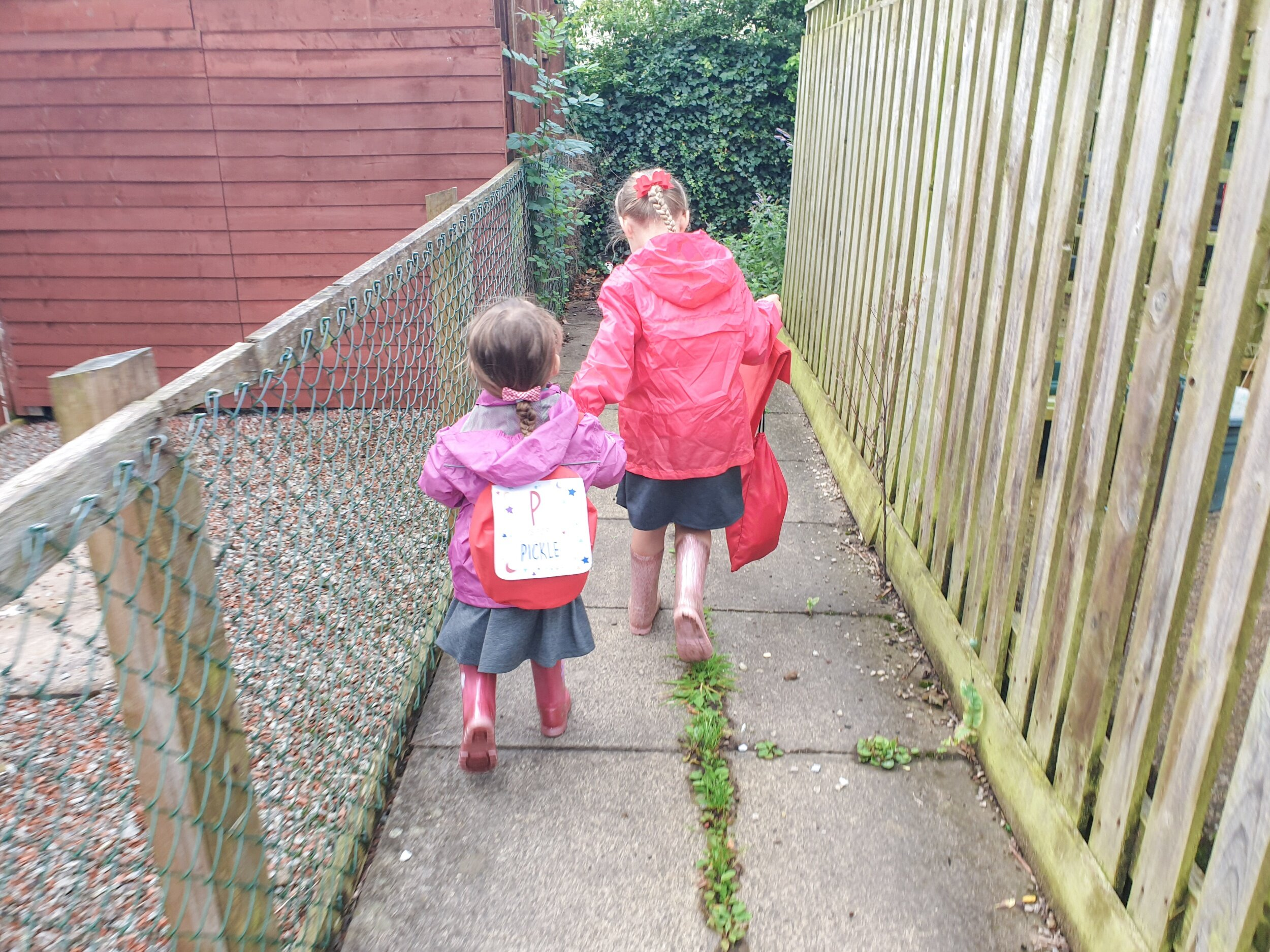 Walking to school together hand-in-hand
