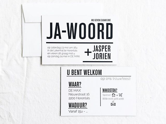 Basic no-nonsense design for the wedding of Jorien & Jasper. We worked with letterpress on 800g for this one (_always makes us as happy as a kid in a candystore. Enough said!) #hermân #hasselt #graphic #design #graphicdesign #print #printmaking #vormgevers #typography #letterpress #art #freelance #business #wedding #invitation #weddingvitation #weddingday #married #gettingmarried #creative #creativity #thehappynow