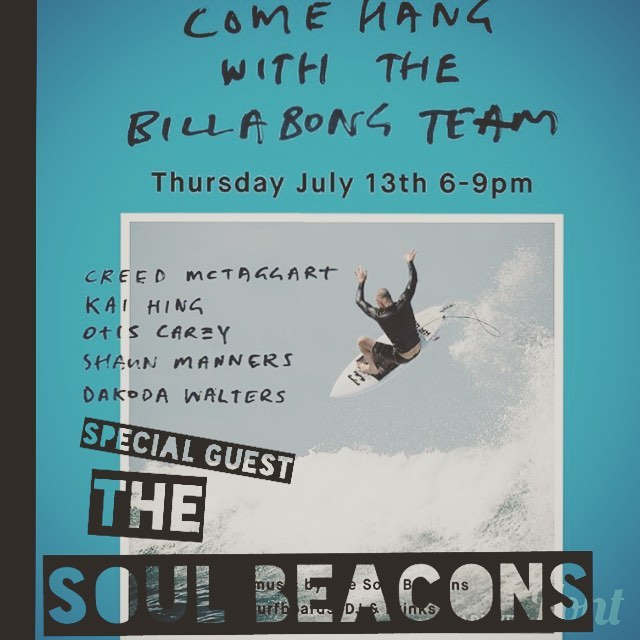 Tomorrow nite: by special request; The Soul Beacons bring the funk to Laguna Beach! Come join the party at the Laguna  Billabong shop, no admission and beer provided by Pacifico, come ready to drink and dance your ass off! 903 S. Pacific Coast Hwy, Laguna Beach #funk #hammondorgan #thesoulbeacons #soul #danceparty #billabong #pacificobeer