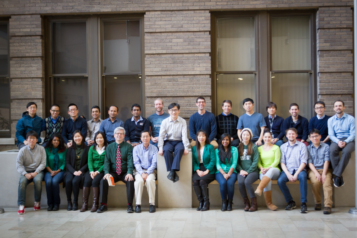 The lab dressed in green and blue to celebrate Mingchao's defense.