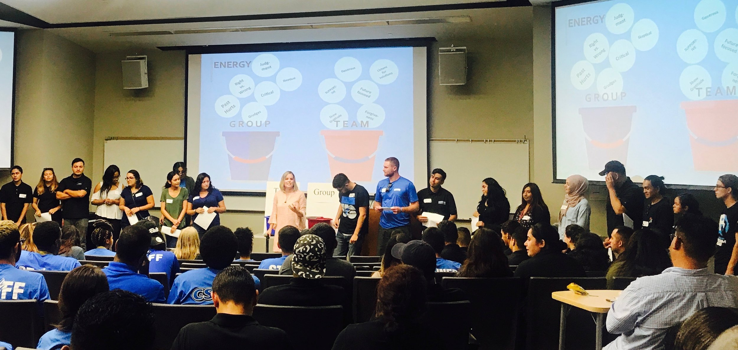 Susan doing a Group to TEAM keynote for over 200 student workers at Cal State San Bernardino last month.