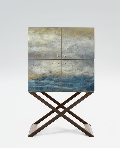 Armani/Casa - bar en bois de noyer et laiton satiné issu de la collection Le temps de la légéreté