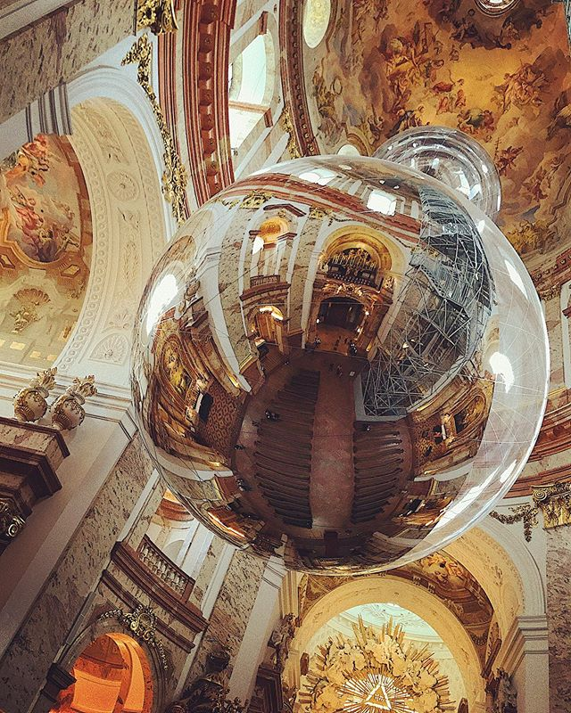 Tomas Saraceno's 'Aeroscene' floating 60 meters high in Vienna's baroque St. Charles Church amidst 300 year old frescos @studiotomassaraceno