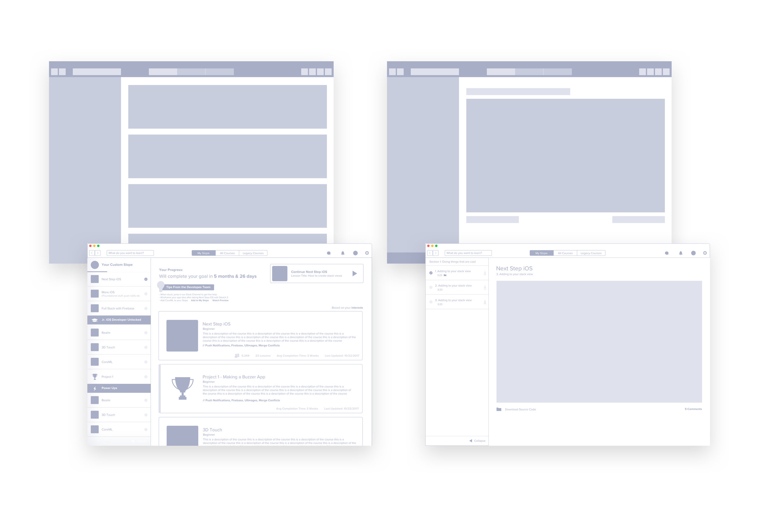 Left (Home Screen), Right (Lesson Screen)