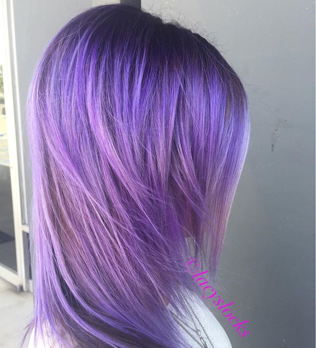 Purple in natural light!!! #summer #hushushbangbang #purplehair #mylittlepony #shadowroot #orangecounty #summerhair #beachbabe #haircolor