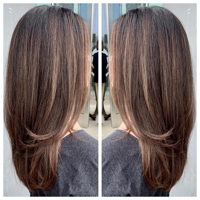 🖤Brunetting with soft balayage highlights 🖤 #highlights #hairinspo #eufora #hotd #hushhushbangbang #brunettebalayage #balayage #balayageombre #balayagehair  #balayagehighlights #balayaged #longlayers #womensfashion #b3 #womenscut #style #beauty #fashion #costamesa #newportbeach #hairbyclover