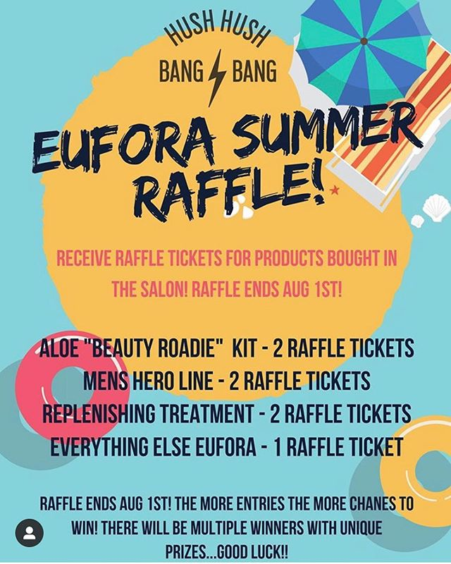 ☀️EUFORA SUMMER GIVEAWAY ☀️ Purchase any #Eufora product from @hushhushbangbangoc and get a/some raffle tickets. One prize will be a gift basket —— Swipe left for image. *multiple prizes to be won #hushhushbangbang #raffle #eufora #euforapro #euforainternational #euforahero #hairproducts #skinproducts #essentialoils #healthyhair #goodluck #summer #summerraffle #latepost