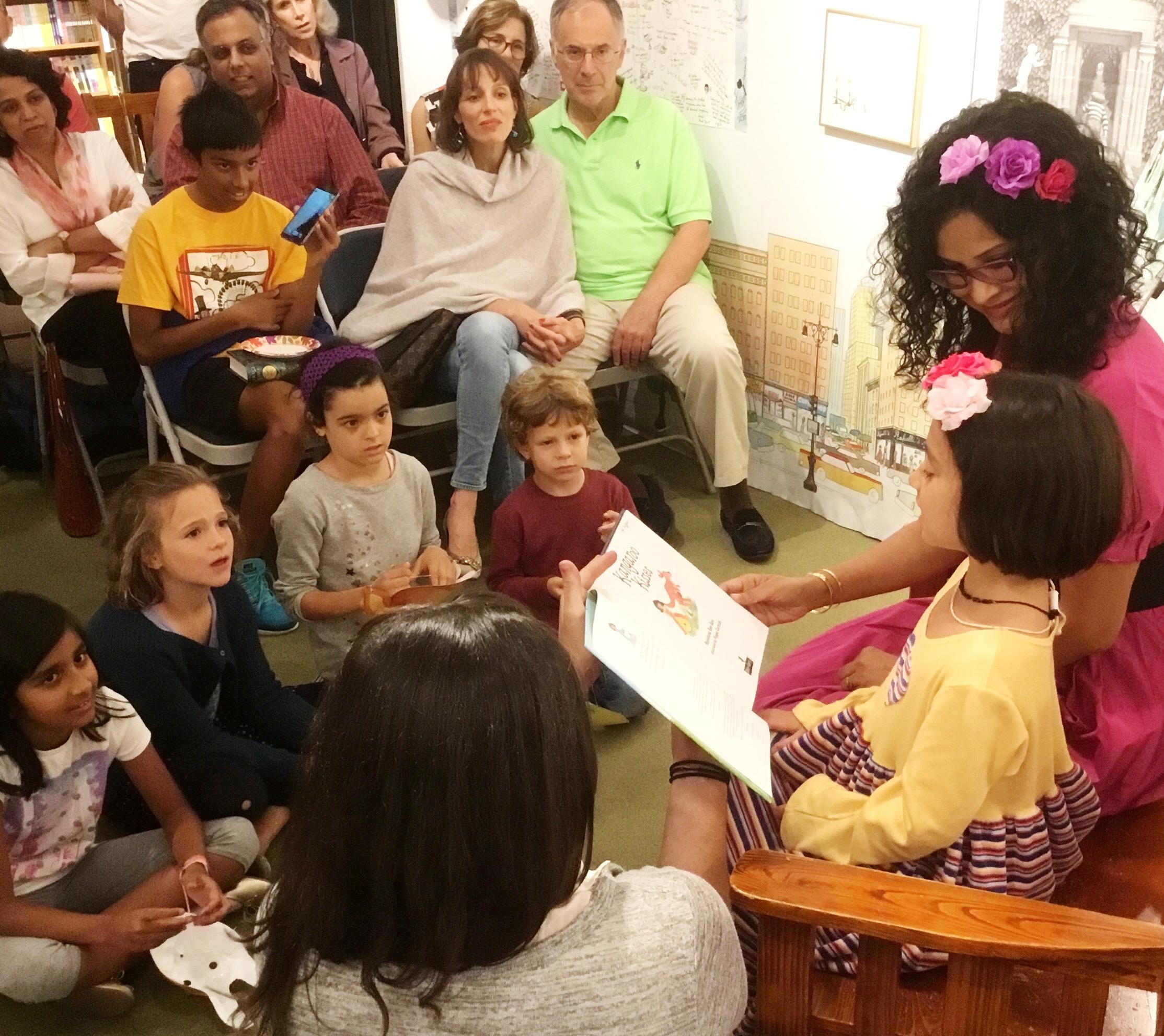 A Rapt Audience: Sulakshana reads Kangaroo Kisses with Nandana in Book of Wonder, September 25, 2016