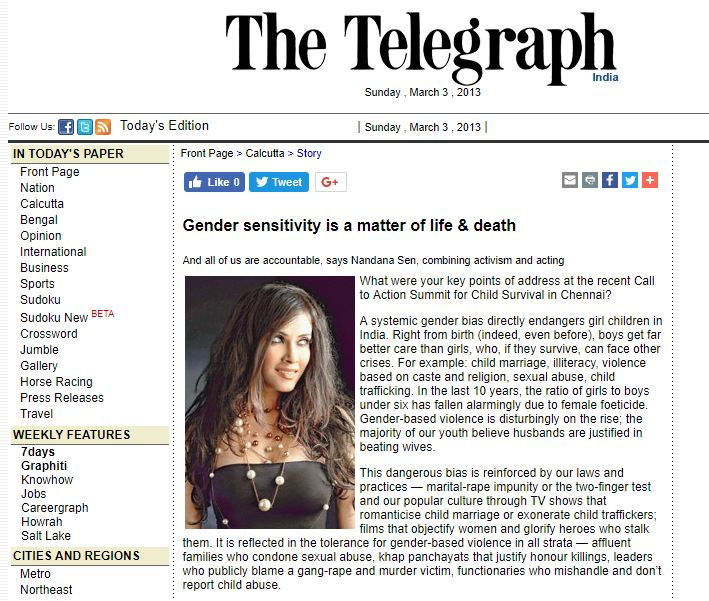 The Telegraph -  click here to see full article   March 3, 2013